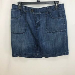 53f9990d621 Faded Glory Dark Wash Denim Skirt Plus Size 14